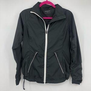 Maggie Lane Black Zip Up Athletic Windbreak Jacket